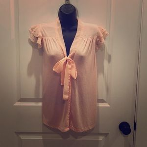 💥5/$25 French Laundry Med lt peach blouse, EUC!!!